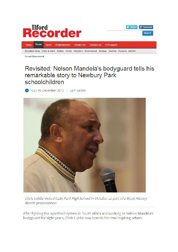 Revisited Nelson Mandela's bodyguard tells his remarkable story to newbury park schoolchildren